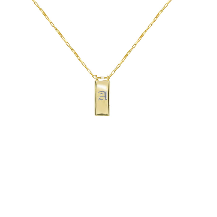 THE OLD ENGLISH UPPERCASE RECTANGLE TAG NECKLACE