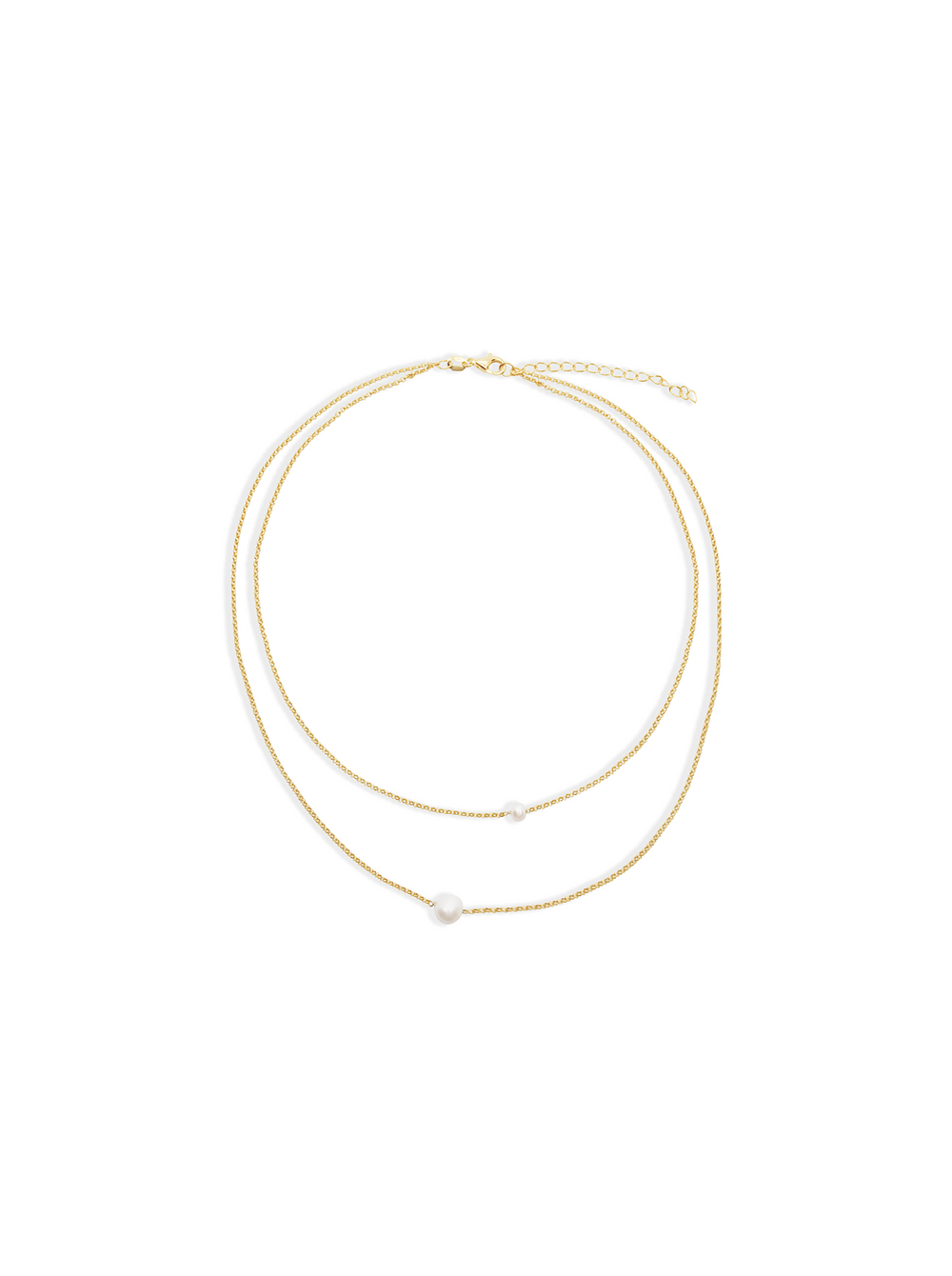 THE DOUBLE PEARL CHAIN COLLAR NECKLACE
