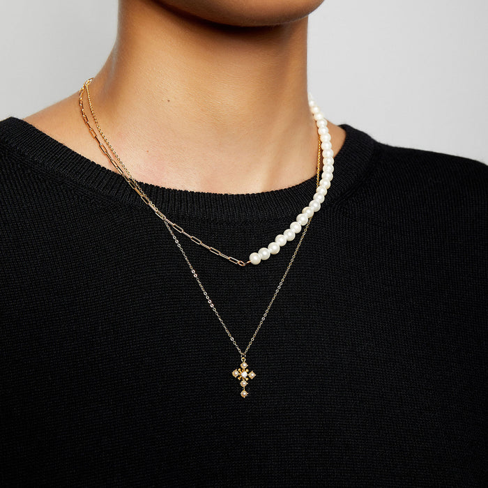 THE PEARL STONE CROSS NECKLACE