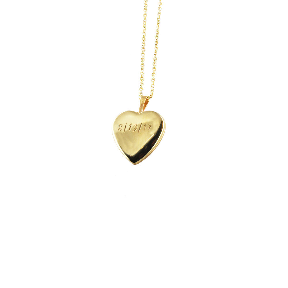 THE HAND ENGRAVED PUFF HEART LOCKET NECKLACE