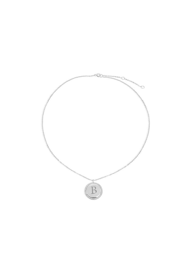 THE TIMES PAVE ENGRAVED CIRCLE PENDANT