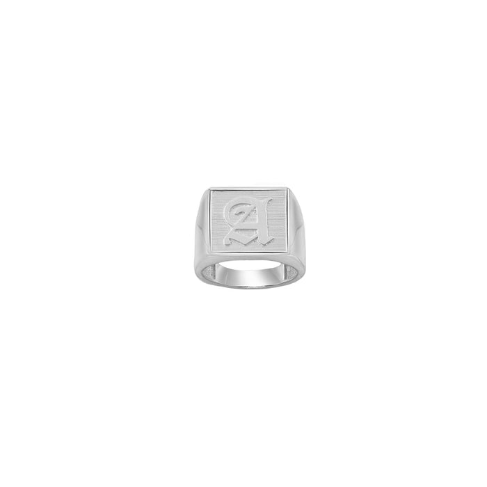 SILVER OLD ENGLISH SQUARE SIGNET RING