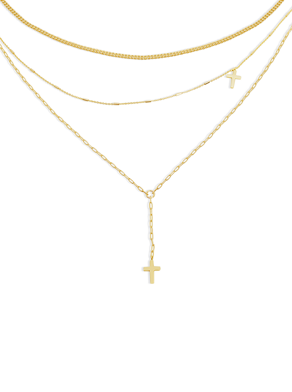 THE TRIPLE CHAIN CROSS NECKLACE
