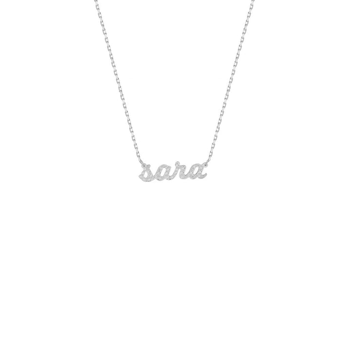 THE TINY DIAMOND NAMEPLATE NECKLACE