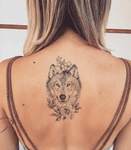 Wolf With Flowers Tattoo -BACK