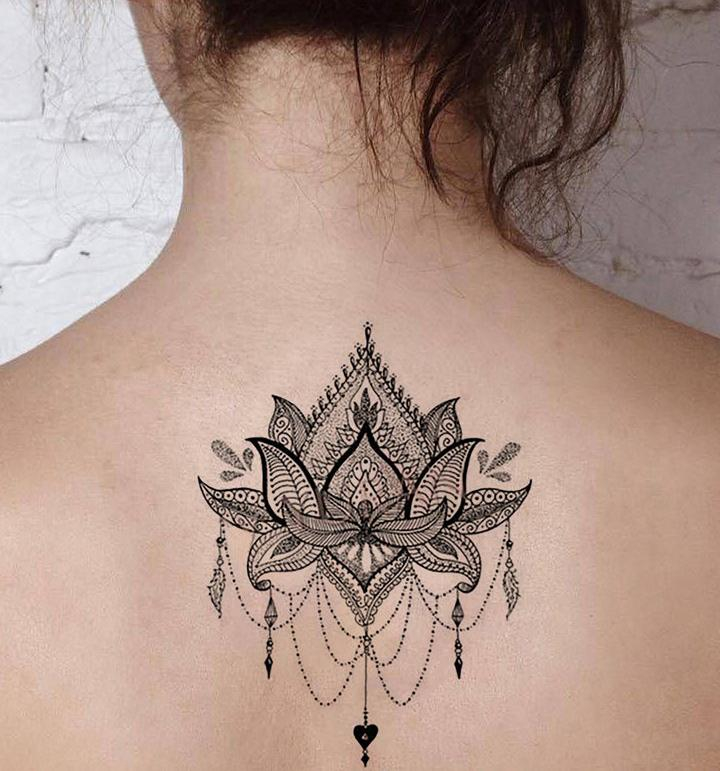 Large Lotus Mandala Tattoo back
