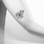 Small Peony Tattoo Black And White