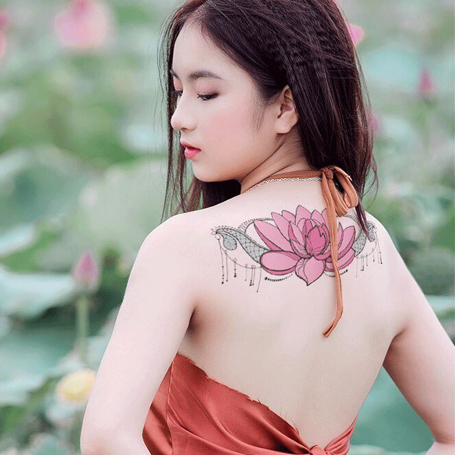 Big Colorful Lotus Tattoo