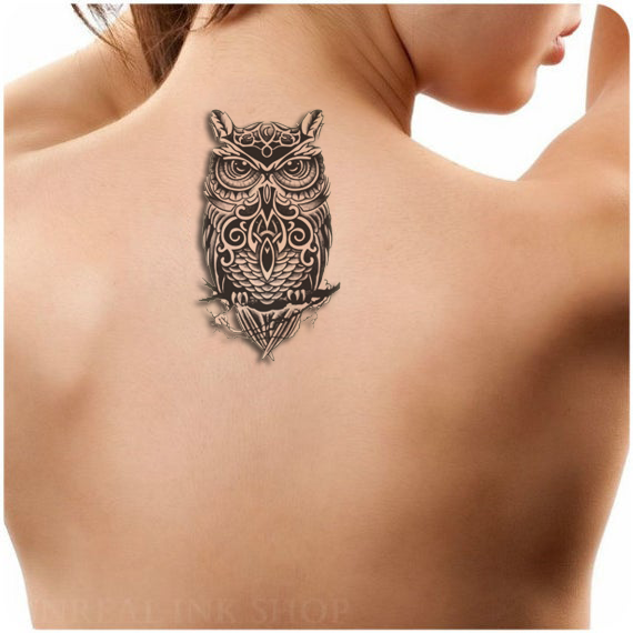 Black Owl Large Tattoo