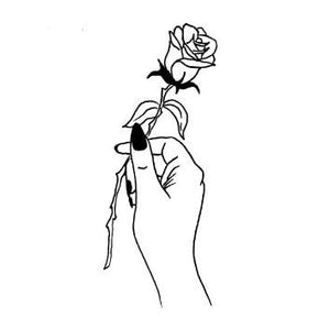 Hand Holding Rose Tattoo