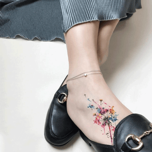 Colorfull Dandelion Temporary Tattoo