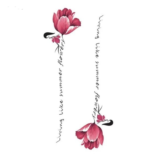 "Flower Temporary Tattoo With Words ""living like summer flower"""