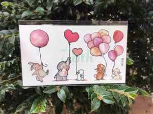 Cute Pink Elephant Rabbit Balloon Tattoo Cute Pink Elephant Rabbit Balloon Tattoo