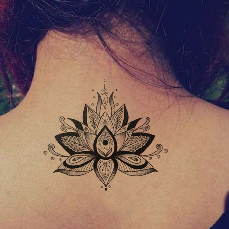 Vintage Grey Lotus Temporary Tattoo Vintage Grey Lotus Temporary Tattoo