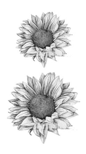 Small 3D Grey & Black Sunflower Tattoo Small 3D Grey & Black Sunflower Tattoo