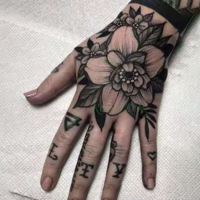 Blackwork Rose Flower Hand Tattoo Blackwork Rose Flower Hand Tattoo