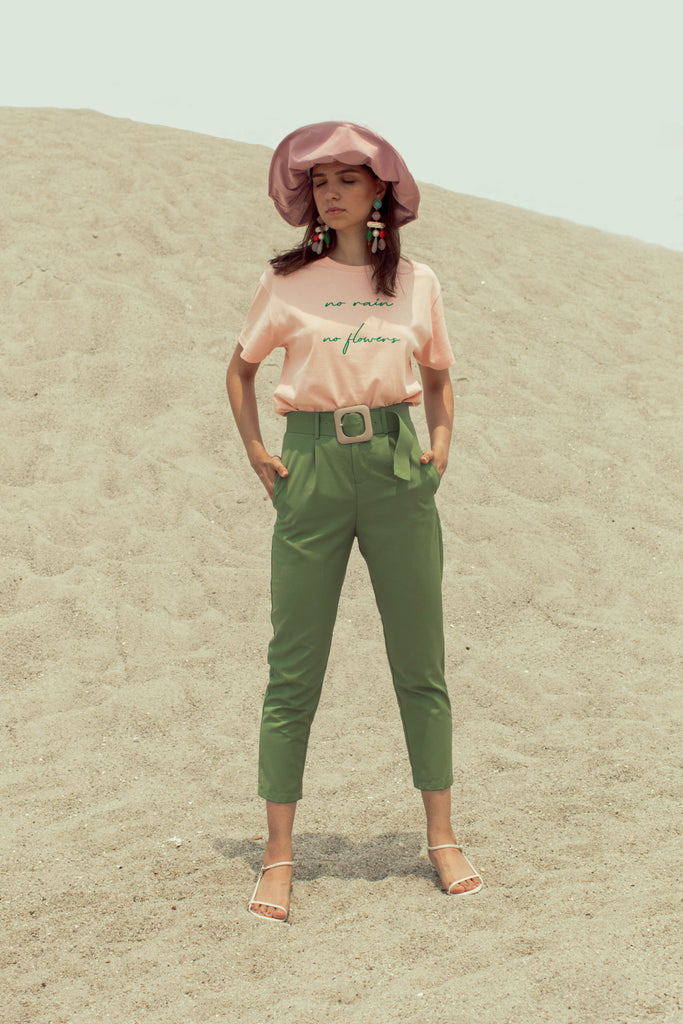 Maiya High-Waisted Trousers - Moss