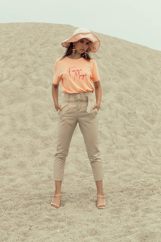 Maiya High-Waisted Trousers - Sand