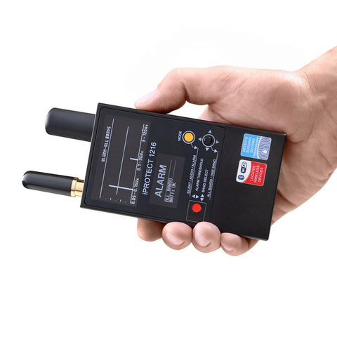 iprotect 1216 rf bug detector with lights in hand