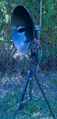Detect Eer parabolic dish standing outside i nthe field