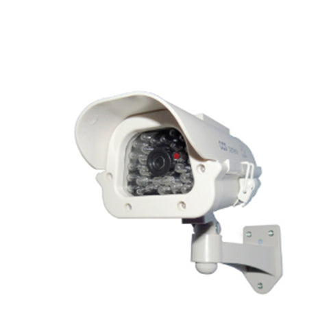"7"" White Solar-powered Dummy Camera w/ Strobe"