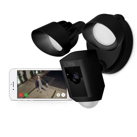 ring floodlight wi-fi camera shown by user on pone