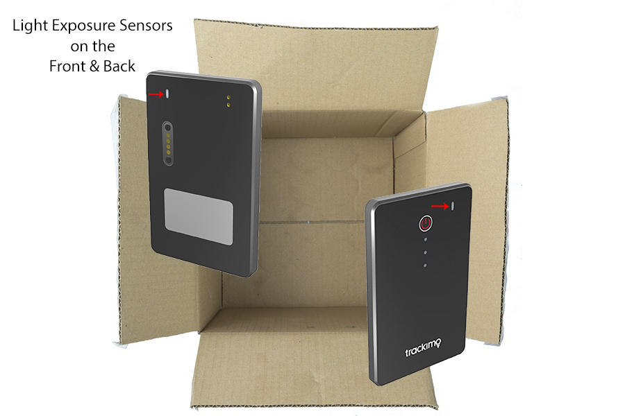 GPS tracker in a opened box exposed to light