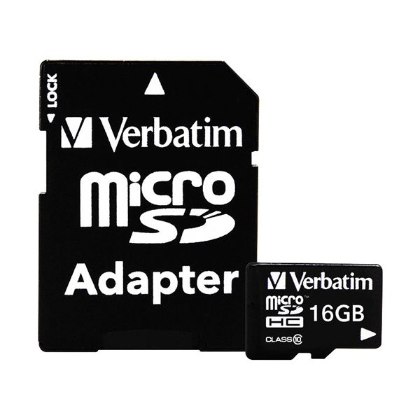 Verbatim 16GB microSDHC Class 10 Flash Memory Card with Adapter
