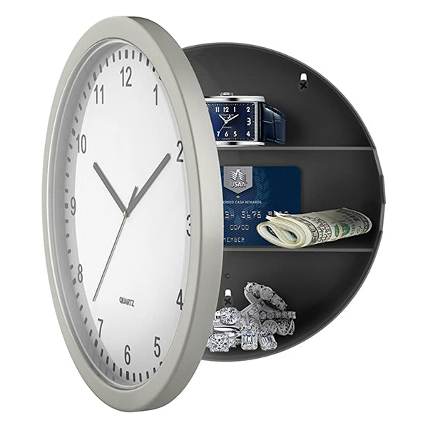 10in. Silver Wall Clock Diversion Safe
