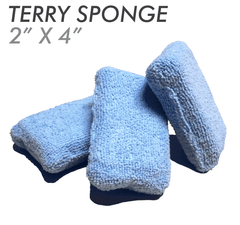 2 X 4 Microfiber Terry Detailing Sponge Applicator - Blue