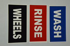 Wash, Rinse & Wheels Labels