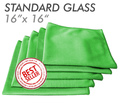 Green 16 X 16 Microfiber Glass And Window Towel