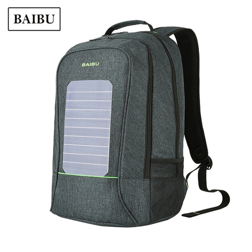 BAIBU Unisex Solar Charger Technology Waterproof Backpack