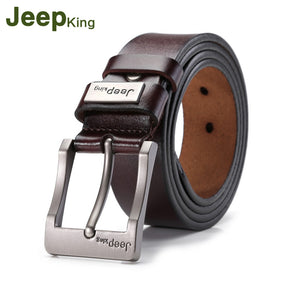 JEEPKING Men's Genuine Leather Pin Buckle Belt