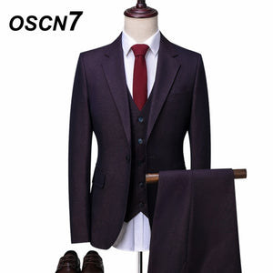 Purple Single Breasted Men's 3 Piece Slim Fit Suits