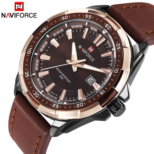 NAVIFORCE Casual Waterproof Quartz Military Leather Sports Watch