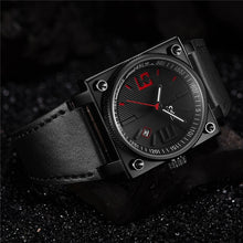 Load image into Gallery viewer, Oulm Black Fashion Men's Watch Square Dial Genuine Leather Band