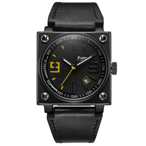 Oulm Black Fashion Men's Watch Square Dial Genuine Leather Band