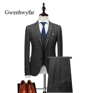 Gwenhwyfar 2 Button Notch Lapel Grey Plaid Men 3 Piece Suit