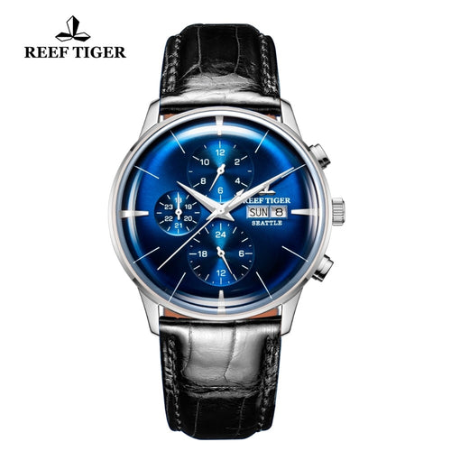 Reef Tiger/RT Men's Luxury Watch Automatic Blue Dial Dual Calendar Leather Strap