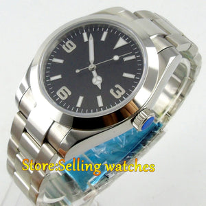40mm Parnis Black Dial Sapphire Glass Automatic Movement Men's Wrist Watch