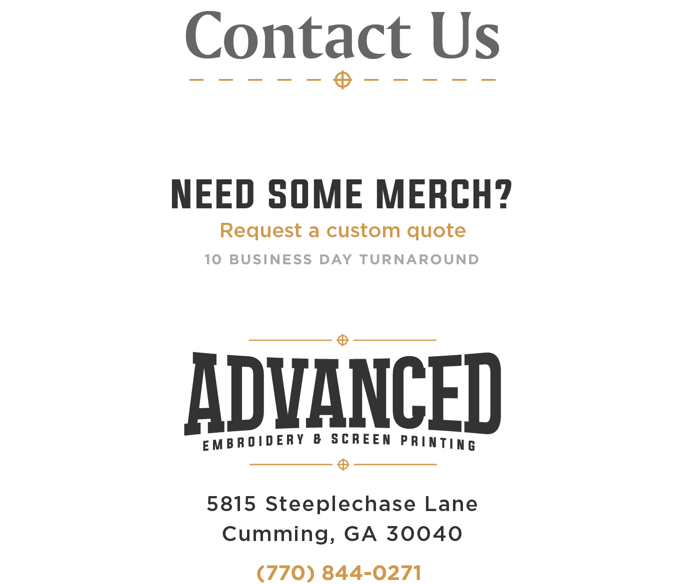 Contact Us | Advanced Embroidery and Screen Printing