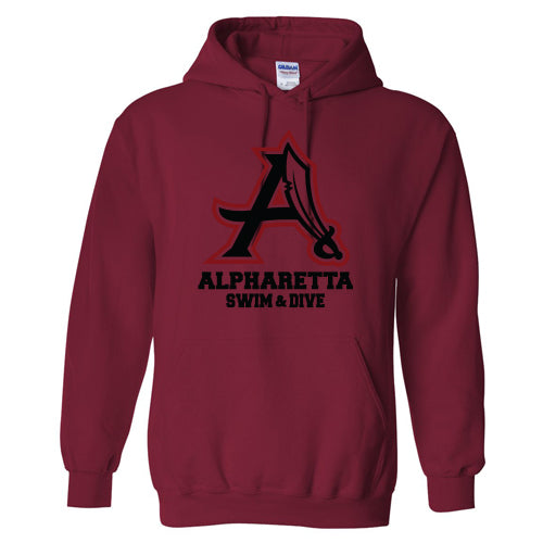 AHS Raiders Swim & Dive - Pullover Hoodie (Cardinal Red)