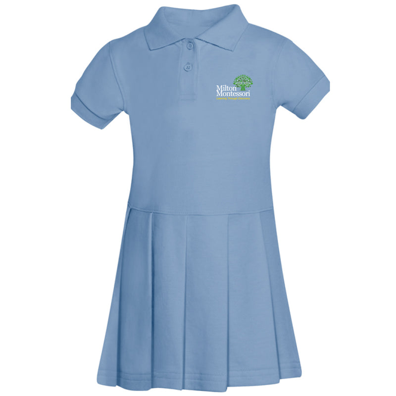 Milton Montessori Girl's S/S Pique Polo Dress (Light Blue)