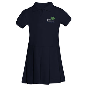 Milton Montessori Girl's S/S Pique Polo Dress (Navy)