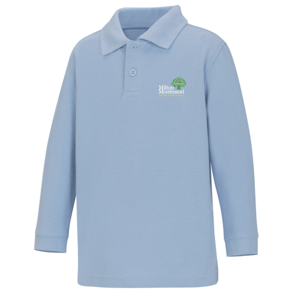 Milton Montessori Unisex L/S Pique Polo (Light Blue)