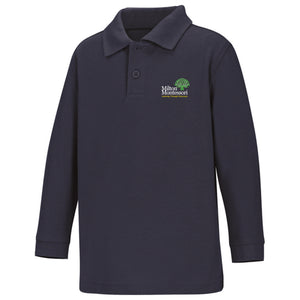 Open image in slideshow, Milton Montessori Unisex L/S Pique Polo (Navy)