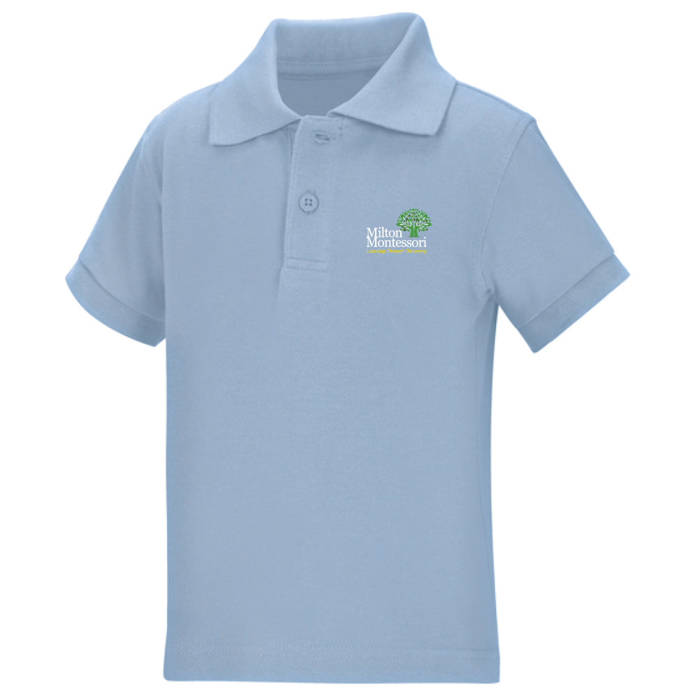 Milton Montessori Unisex S/S Pique Polo (Light Blue)