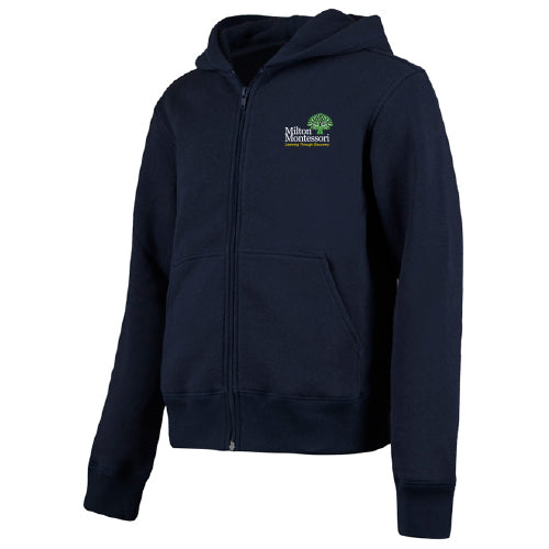 Milton Montessori Unisex Zip-Up Sweatshirt (Navy)