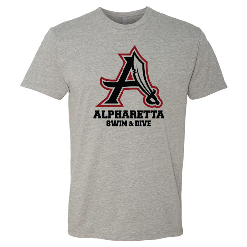 AHS Raiders Swim & Dive - Unisex S/S T-Shirt (Dark Heather Grey)